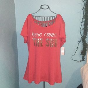 NWTS Ombré Coral Sequin Tee